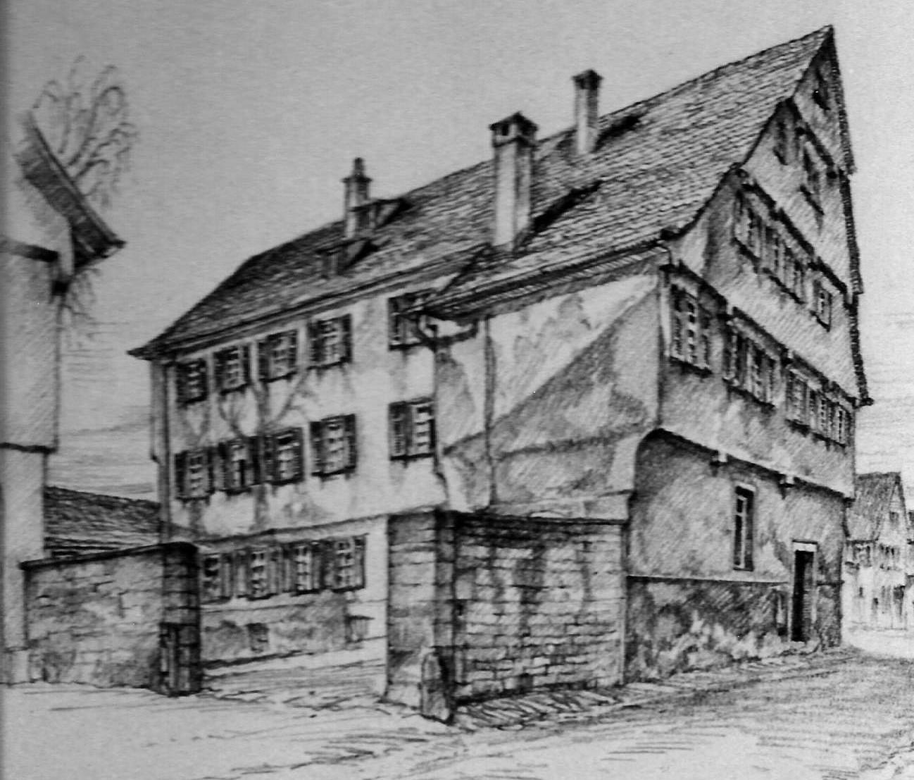 Zeichnung des Bebenhäuser Klosterhofs der Lehrerin Hildegard Gaiser für das Album, das anlässlich der Pensionierung von Gertrud Krauß im Jahr 1974 entstand.