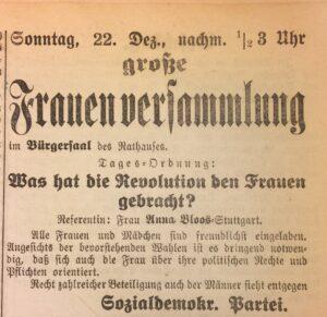 """Anzeige der SPD in der Sindelfinger Zeitung vom 21. Dezember 1918: Einladung zur Frauenversammlung am 22. Dezember 1918 mit Rednerin Anna Blos zum Thema """"Was hat die Revolution den Frauen gebracht?""""."""